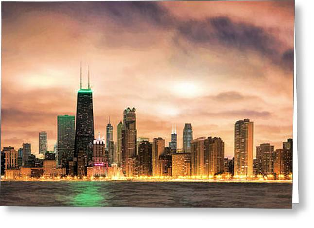Gotham City Paintings Greeting Cards - Chicago Gotham City Skyline Panorama Greeting Card by Christopher Arndt