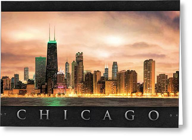Gotham City Greeting Cards - Chicago Gotham City Skyline Panorama Poster Greeting Card by Christopher Arndt