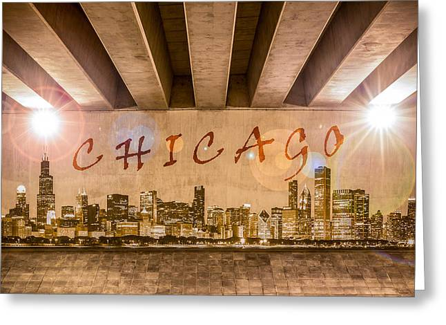 Industrial Concept Greeting Cards - Chicago Graffiti Skyline Greeting Card by Semmick Photo
