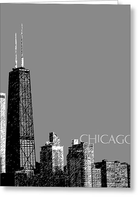 Chicago Digital Greeting Cards - Chicago Hancock Building - Pewter Greeting Card by DB Artist