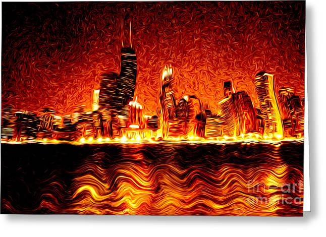 Chicago Hell Digital Painting Greeting Card by Paul Velgos