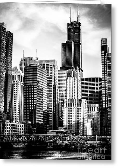Willis Greeting Cards - Chicago High Resolution Picture in Black and White Greeting Card by Paul Velgos