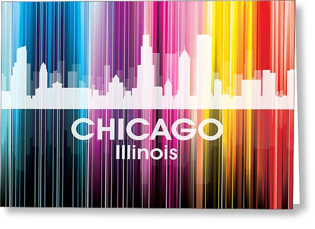 Town Mixed Media Greeting Cards - Chicago IL 2 Greeting Card by Angelina Vick