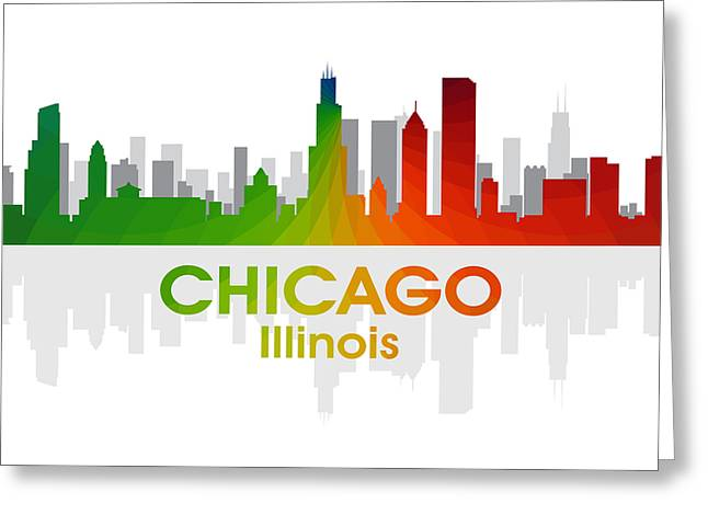 Town Mixed Media Greeting Cards - Chicago IL Greeting Card by Angelina Vick