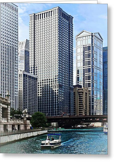 Irv Greeting Cards - Chicago IL - Chicago River Near Wabash Ave. Bridge Greeting Card by Susan Savad