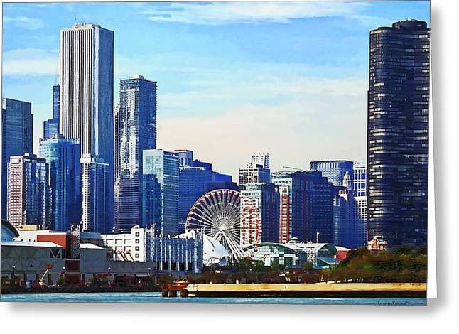Ferris Wheels Greeting Cards - Chicago IL - Chicago Skyline and Navy Pier Greeting Card by Susan Savad