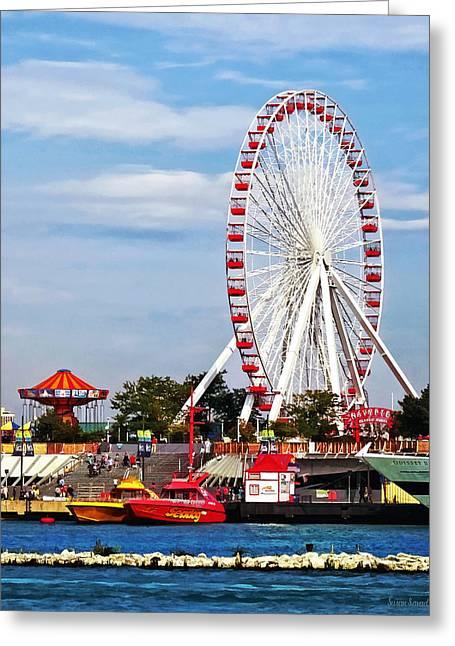 Ferris Wheel Greeting Cards - Chicago IL - Ferris Wheel at Navy Pier Greeting Card by Susan Savad