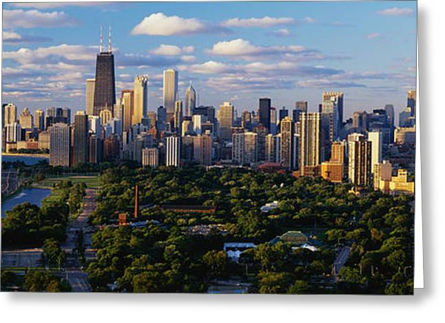 Skyline Greeting Cards - Chicago Il Greeting Card by Panoramic Images