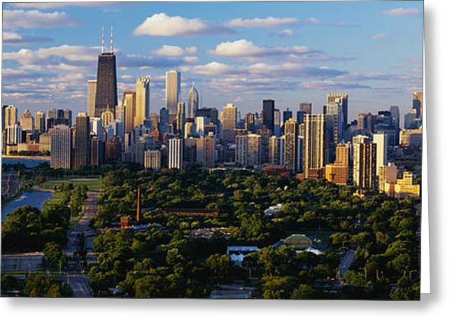 John Hancock Tower Greeting Cards - Chicago Il Greeting Card by Panoramic Images