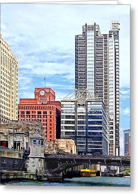 Rivers Greeting Cards - Chicago IL - Water Taxi Passing Under Lyric Opera Bridge Greeting Card by Susan Savad