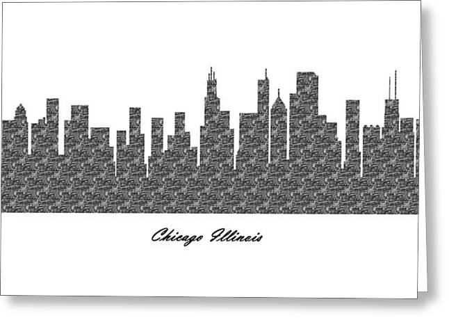 Print Greeting Cards - Chicago Illinois 3D BW Stone Wall Skyline Greeting Card by Gregory Murray
