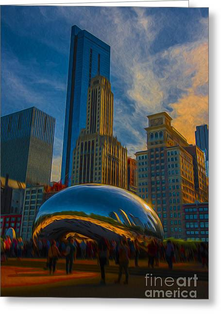 Chicago Bulls Greeting Cards - Chicago Illinois Bean Digital OIL Paint Greeting Card by David Haskett