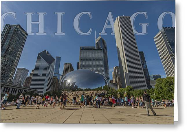 Chicago Bulls Greeting Cards - Chicago Illinois Bean Letters Greeting Card by David Haskett