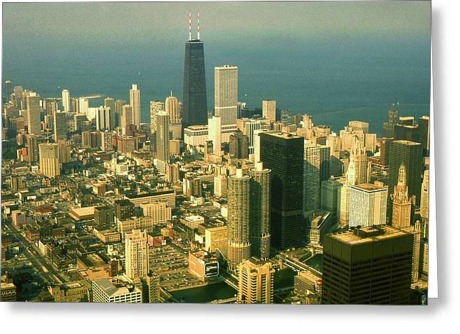 Chicago Illinois Downtown Skyline - Architecture Greeting Card by Peter Fine Art Gallery  - Paintings Photos Digital Art
