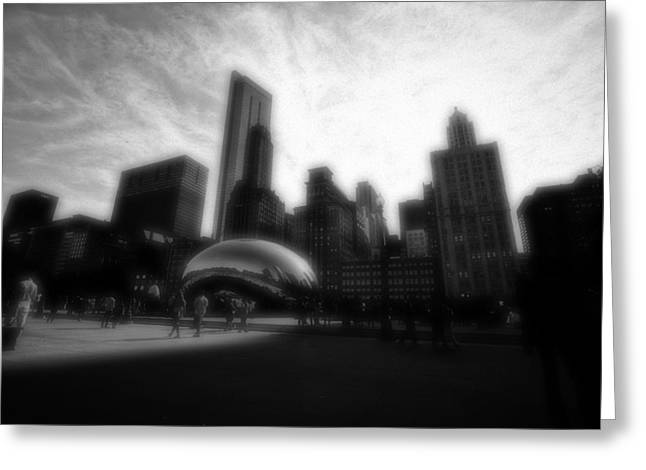 The Bean Greeting Cards - Chicago Illinois Dreamy Edit Skyline Greeting Card by David Haskett