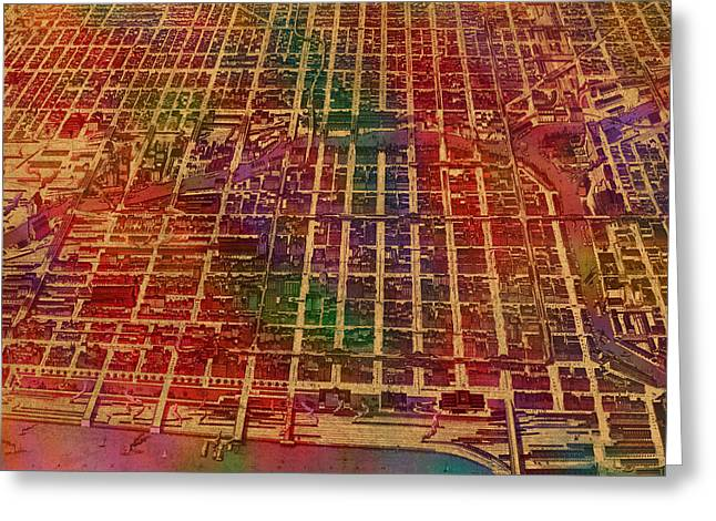 View. Chicago Greeting Cards - Chicago Illinois Map Business District 1898 Birds Eye View Watercolor Painting on Parchment  Greeting Card by Design Turnpike