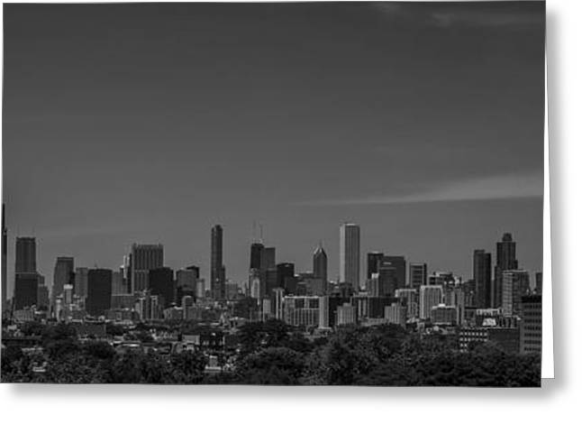 Chicago Bulls Greeting Cards - Chicago Illinois Skyline Black and White Greeting Card by David Haskett