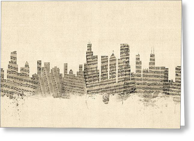 Usa Digital Art Greeting Cards - Chicago Illinois Skyline Sheet Music Cityscape Greeting Card by Michael Tompsett