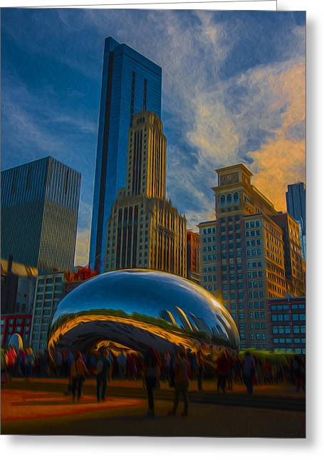 Chicago Bulls Greeting Cards - Chicago Illinois Windy City Bean Digital Paint Greeting Card by David Haskett