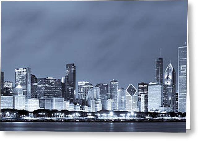 Chicago in Blue Greeting Card by Sebastian Musial