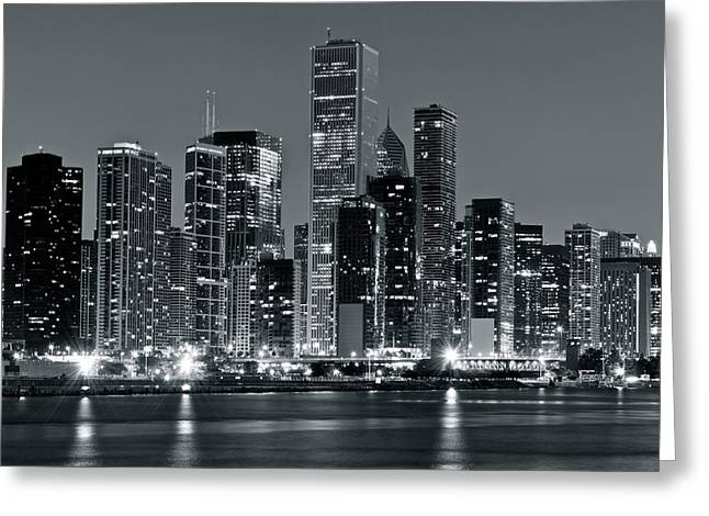 High Park Fire Greeting Cards - Chicago in Charcoal Gray Greeting Card by Frozen in Time Fine Art Photography