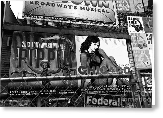 Broadway Musical Greeting Cards - Chicago in New York City mono Greeting Card by John Rizzuto
