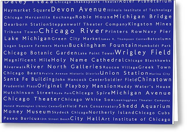 Daley Plaza Greeting Cards - Chicago in Words Blue Greeting Card by Sabine Jacobs