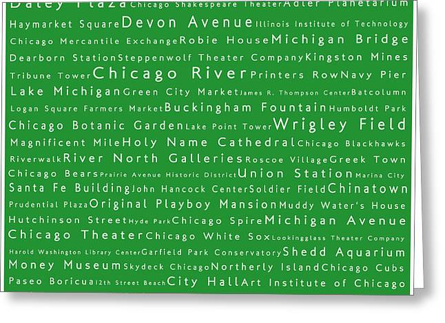 Daley Plaza Greeting Cards - Chicago in Words Green Greeting Card by Sabine Jacobs