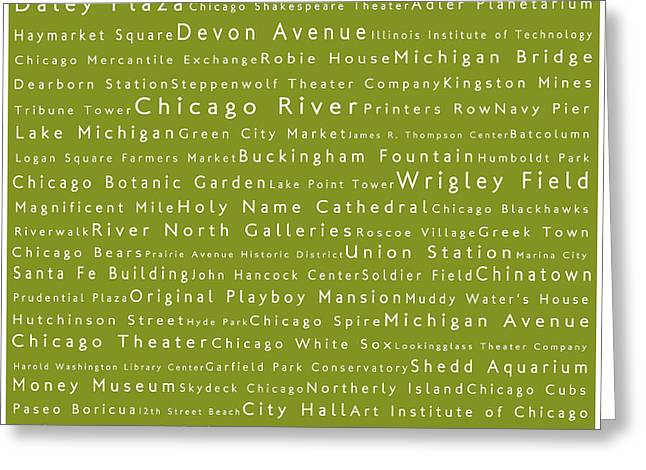 Daley Plaza Greeting Cards - Chicago in Words Olive Greeting Card by Sabine Jacobs