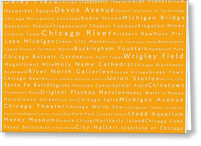 Daley Plaza Greeting Cards - Chicago in Words Orange Greeting Card by Sabine Jacobs