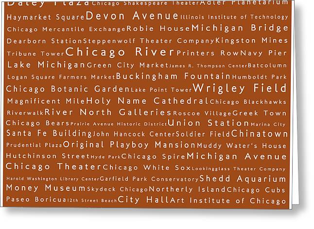 Daley Plaza Greeting Cards - Chicago in Words Toffee Greeting Card by Sabine Jacobs