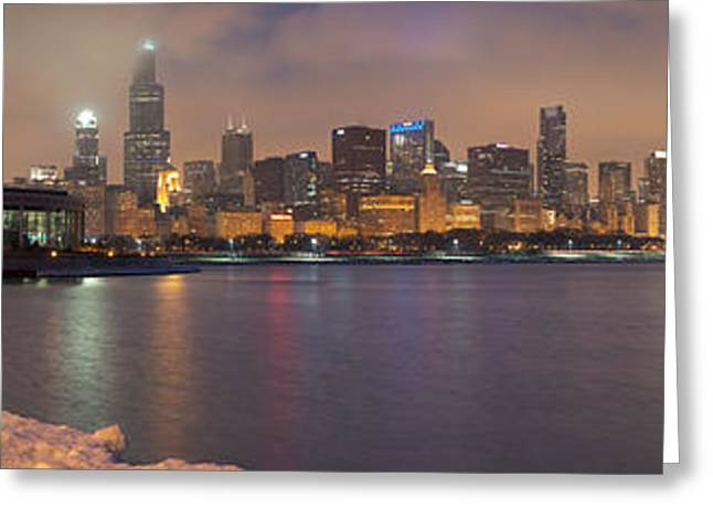 Outlook Greeting Cards - Chicago January Skyline Greeting Card by Kevin Eatinger