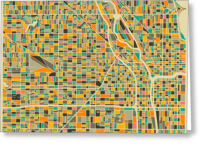 Canadians Greeting Cards - Chicago Map Greeting Card by Jazzberry Blue