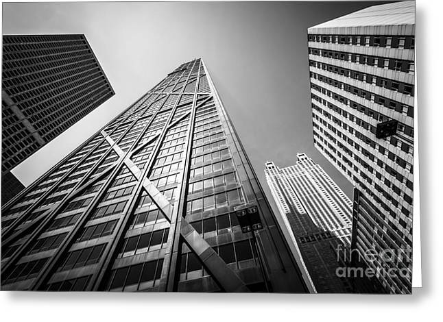 Chicago John Hancock Building In Black And White Greeting Card by Paul Velgos