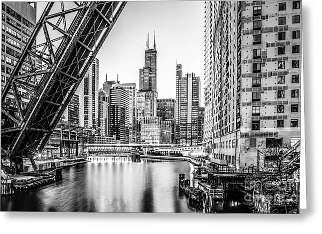 Chicago Kinzie Railroad Bridge Black And White Photo Greeting Card by Paul Velgos