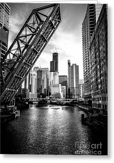Landmark And Bridges Greeting Cards - Chicago Kinzie Street Bridge Black and White Picture Greeting Card by Paul Velgos