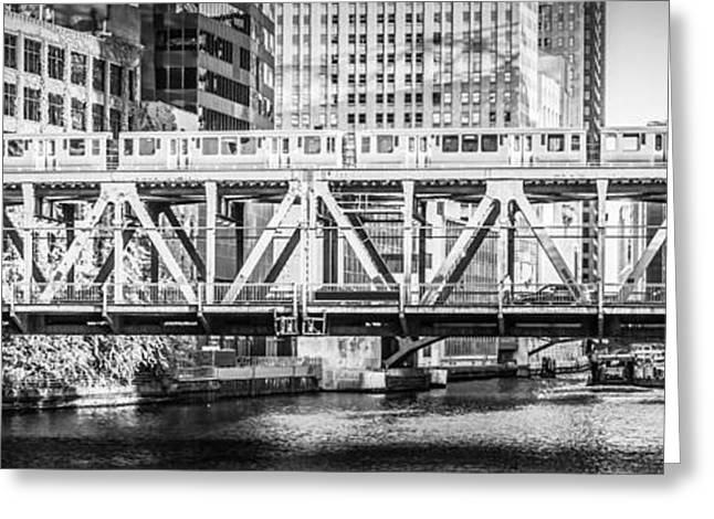 Black And White Photos Greeting Cards - Chicago Lake Street Bridge L Train Black and White Picture Greeting Card by Paul Velgos