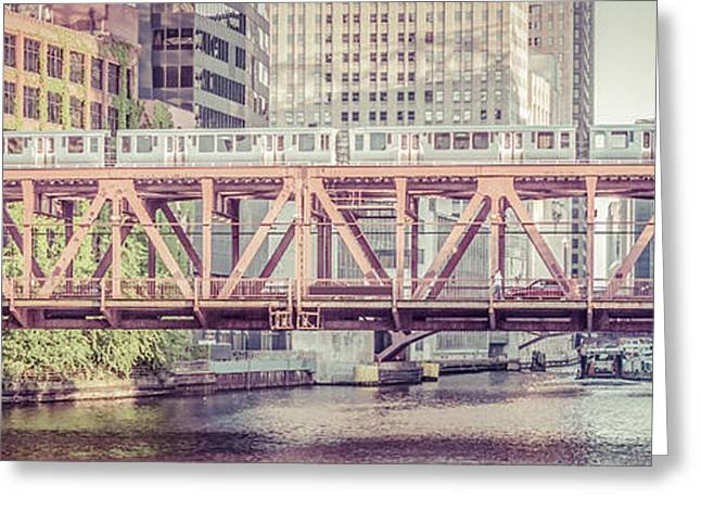Old Street Greeting Cards - Chicago Lake Street Bridge L Train Retro Picture Greeting Card by Paul Velgos