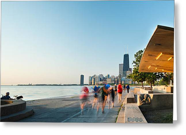 Jogging Photographs Greeting Cards - Chicago Lakefront Panorama Greeting Card by Steve Gadomski