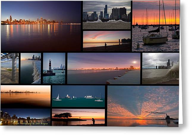 Jogger Greeting Cards - Chicago lakefront photo collage Greeting Card by Sven Brogren