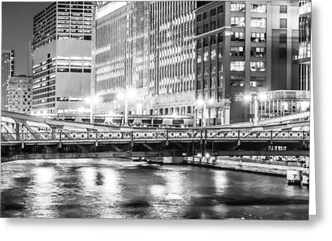 Merchandise Photographs Greeting Cards - Chicago Lasalle Street Bridge at Night Panorama Photo Greeting Card by Paul Velgos
