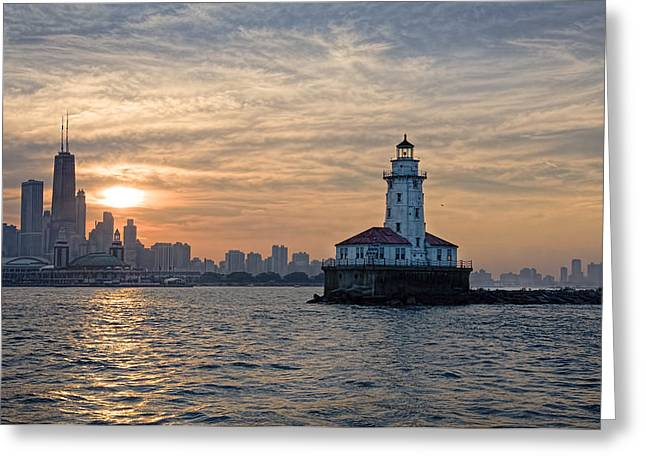 Lighthouse Sunset Greeting Cards - Chicago Lighthouse and Skyline Greeting Card by John Hansen