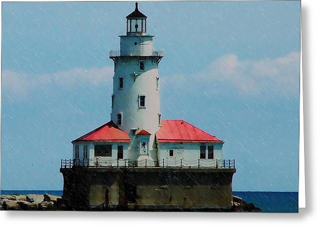 Landscape Posters Digital Greeting Cards - Chicago Lighthouse Greeting Card by Chris Flees