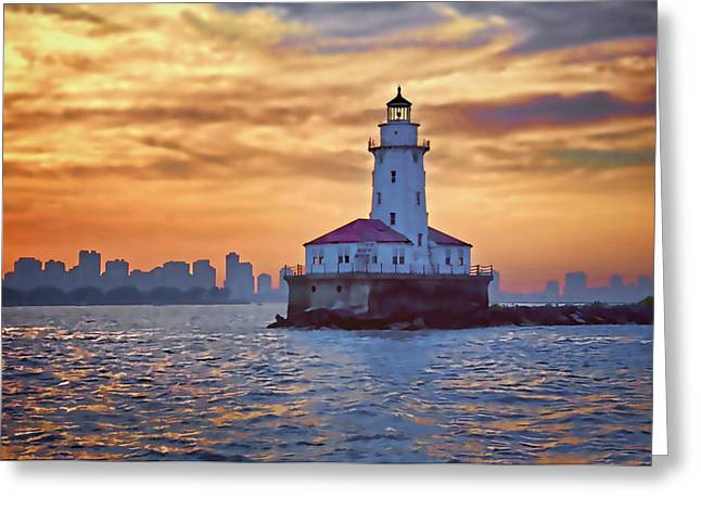 Chicago Digital Greeting Cards - Chicago Lighthouse Impression Greeting Card by John Hansen