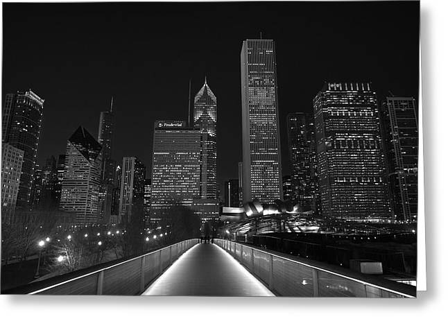 Millennium Park Greeting Cards - Chicago Lights B W Greeting Card by Steve Gadomski