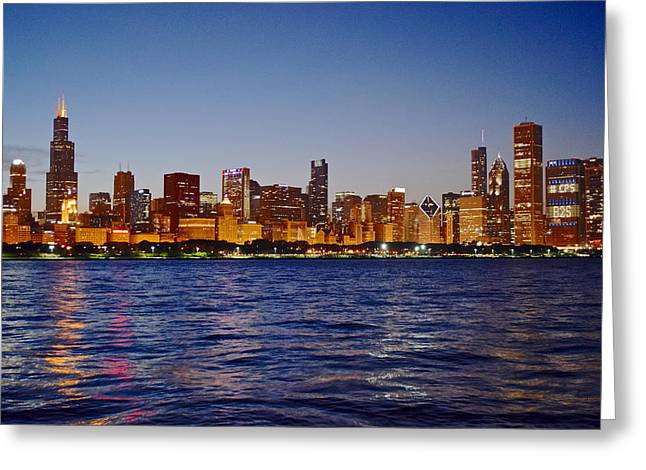 Chicago Bulls Greeting Cards - Chicago Lights Greeting Card by Frozen in Time Fine Art Photography