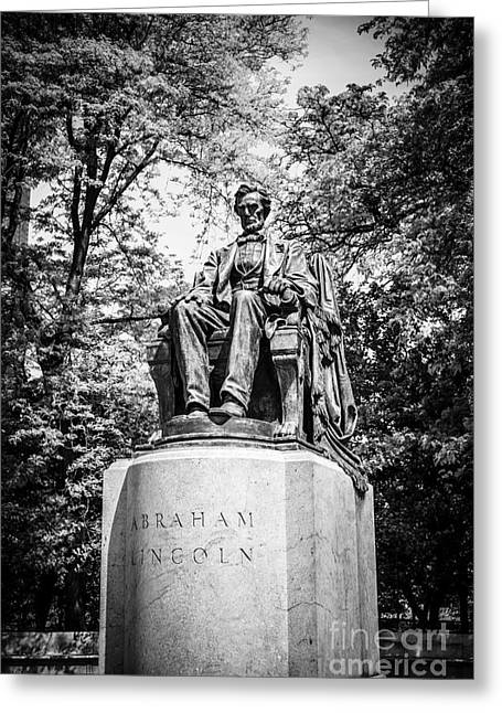 Head Of State Greeting Cards - Chicago Lincoln Head of State Statue in Black and White Greeting Card by Paul Velgos
