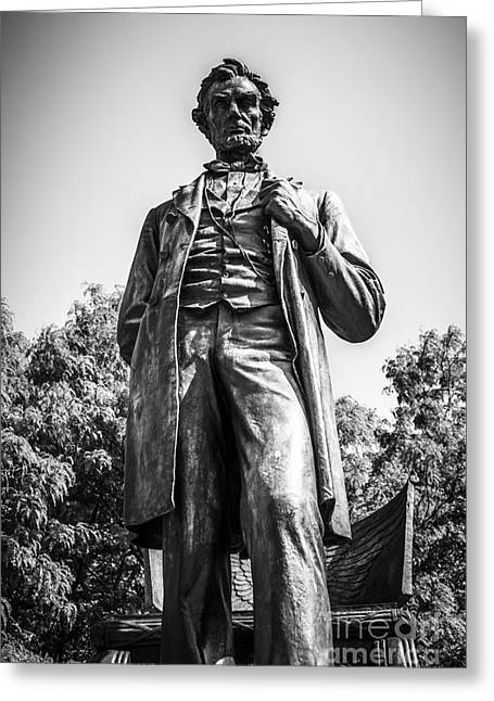 Abraham Lincoln Photos Greeting Cards - Chicago Lincoln Standing Statue in Black and White Greeting Card by Paul Velgos