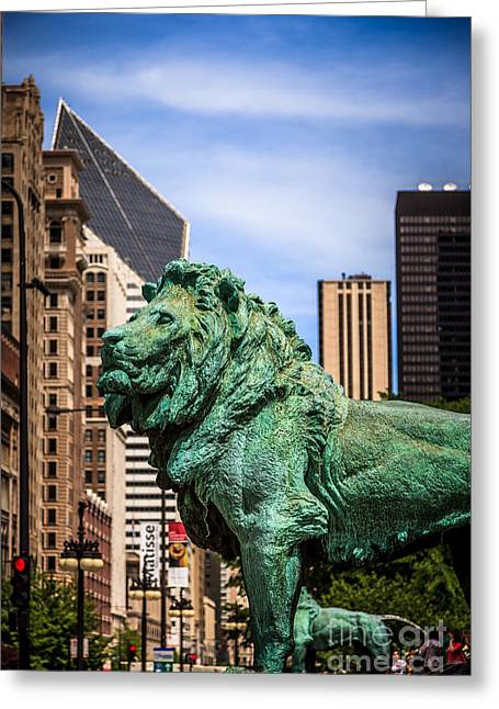 Urban Lion Greeting Cards - Chicago Lion Statues at the Art Institute Greeting Card by Paul Velgos