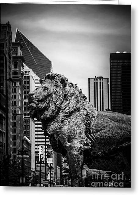 Urban Lion Greeting Cards - Chicago Lion Statues in Black and White Greeting Card by Paul Velgos